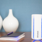 Foobot, Luftanalyse, weiß, Vase, Notizheft, Stift