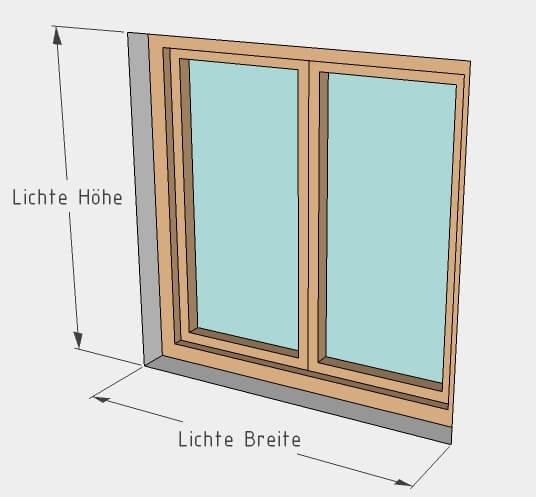 Lichte Breite und lichte Höhe beim Fenster