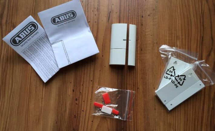 ABUS Smartvest, Öffnungsmelder, Lieferumfang, Test, weiß,