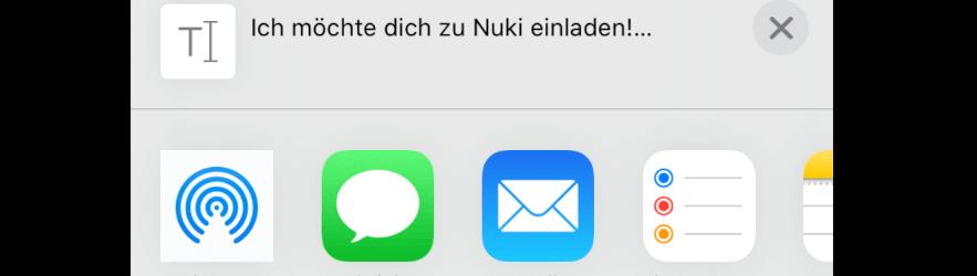 Nuki App Einladungscode teilen