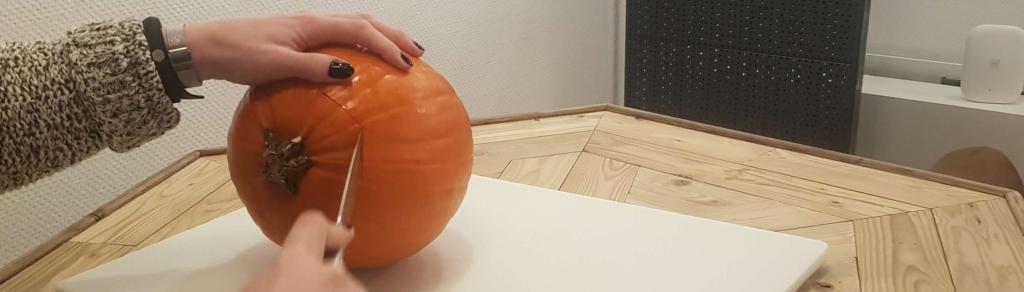 Step 1 Kürbis Halloween Deckel ab