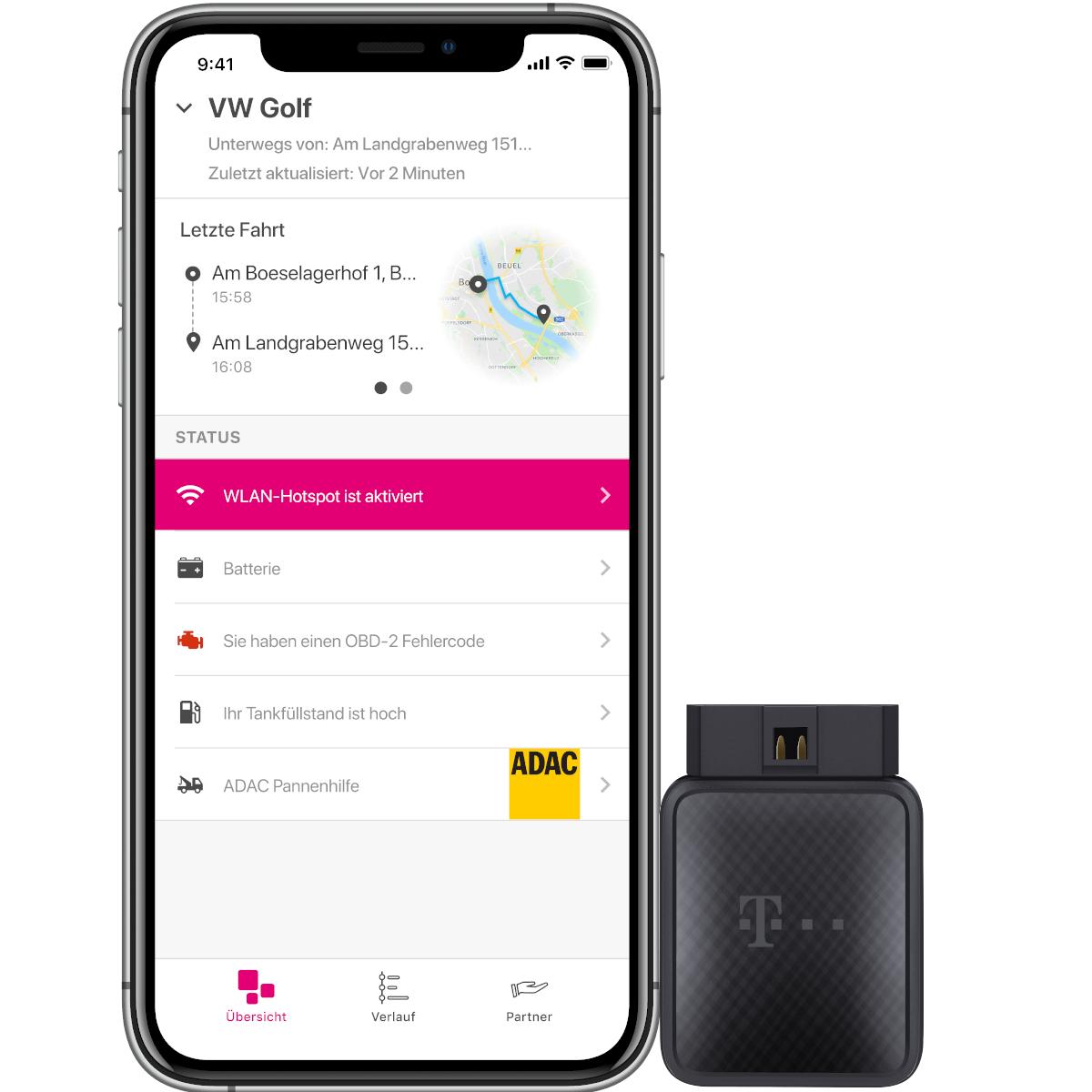 Telekom CarConnect Adapter | WLAN-Hotspot Auto + 12 Monate Internet-Tarif 5GB, ADAC Pannenhilfe