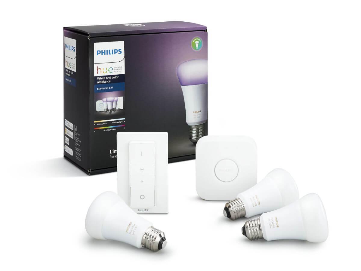 Philips Hue LED E27 3er Starter Set RGBW 10W inkl. Dimmschalter und Bridge