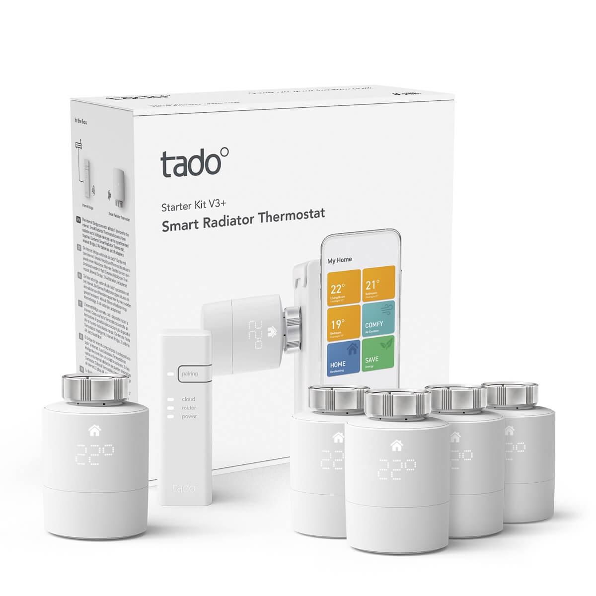 tado° Smartes Heizkörper-Thermostat Starter Set V3+ inkl Bridge + Viererpack Heizkörperstellantriebe