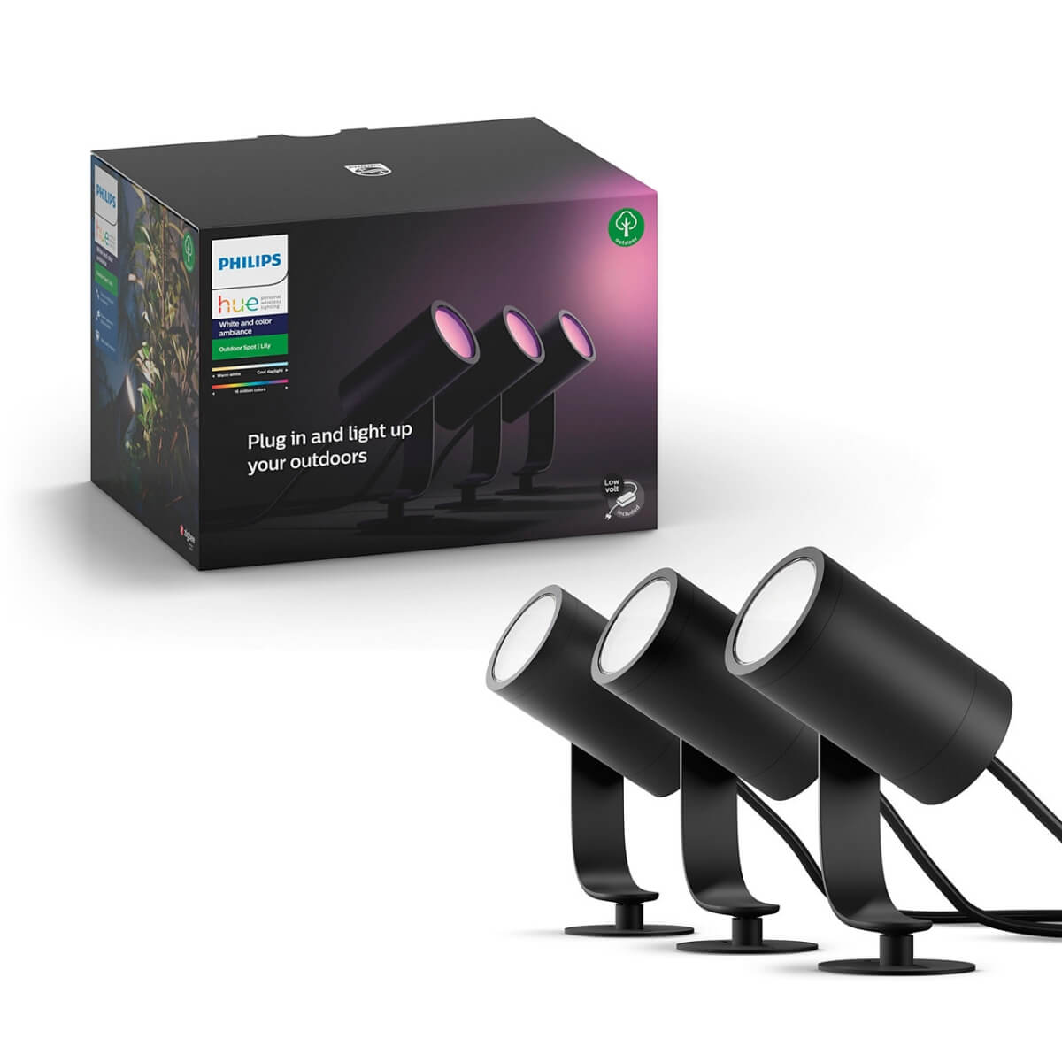 Philips Hue Outdoor Lily Gartenspot White and Color Ambiance RGBW Basis-Set 3x600lm Niedervolt IP65