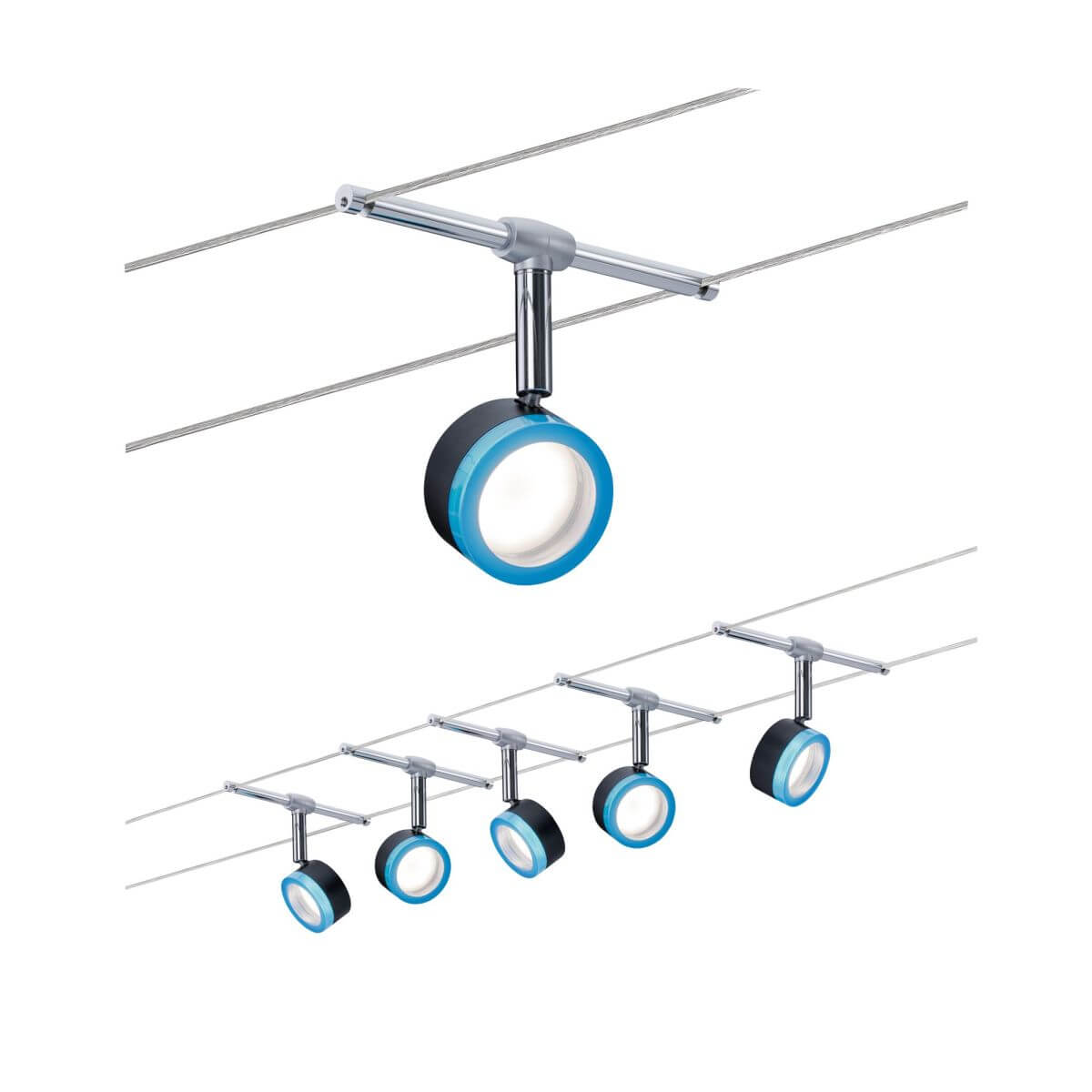 Paulmann Seilsystem BlueLED, 5 x 4W, 10 m, 2,5 mm², Warmweiß,  Blau | Chrom | Schwarz