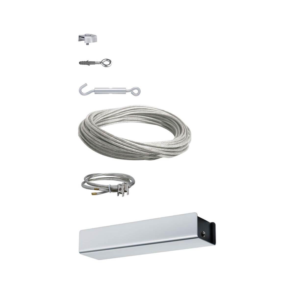 Paulmann Seil-Basissystem, Trafo 36W, 15m, Spann-Zubehör, 230V | 12VDC, Chrom matt