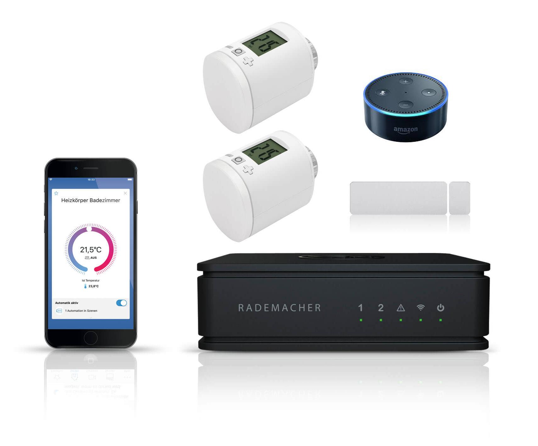 Rademacher Homepilot Vorteilspaket Heizen mit Echo Dot   Zentrale, 2x Heizkörperstellantrieb, 1x Fenster-/Türkontakt + echo dot