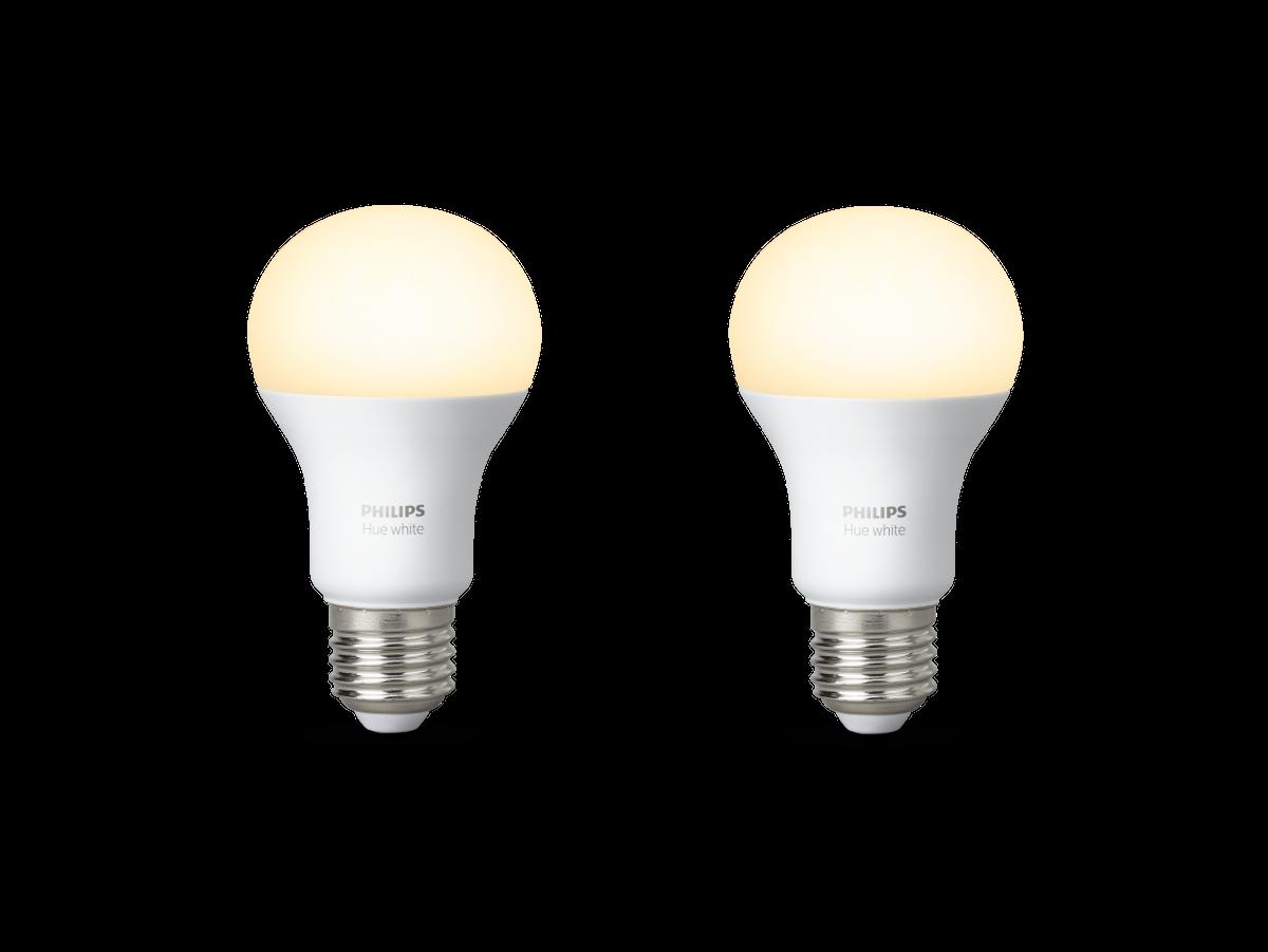 Philips Hue White LED E27 Doppelpack 9,5 W | 2 x WIFI LED Leuchtmittel im Set | Steuerbar, Weiß