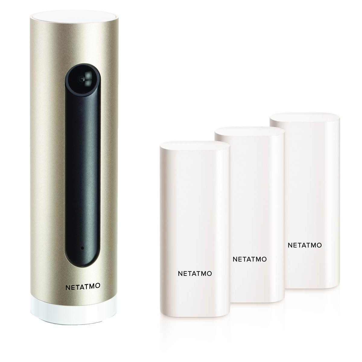 Netatmo Welcome Indoor Sicherheitskamera mit Gesichtserkennung + 3er Set Fenster- und Türkontakt