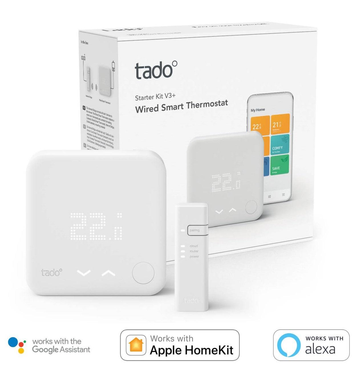 tado° Smartes Thermostat Starter Set V3+ verkabelt für Wohnungen mit Raumthermostat Fußbodenheizung