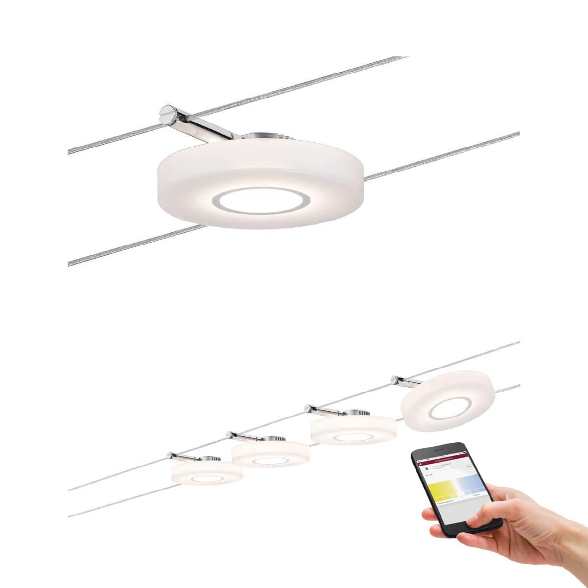 Paulmann Smart LED-Seilsystem DiscLED I, 4x4W DC, Satin, mit Weißlichtsteuerung, Bluetooth