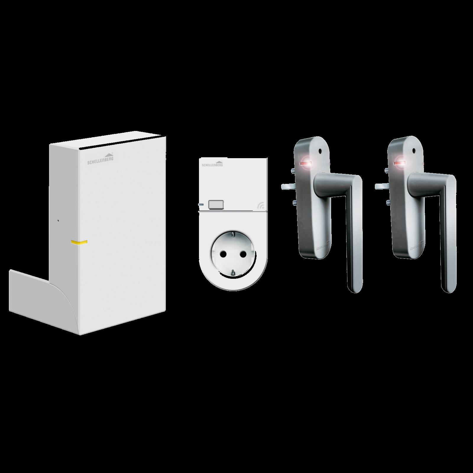 Schellenberg Smart Home-Zentrale SH1 - weiß mit 2 Funk Alarmgriffen und Steckdose