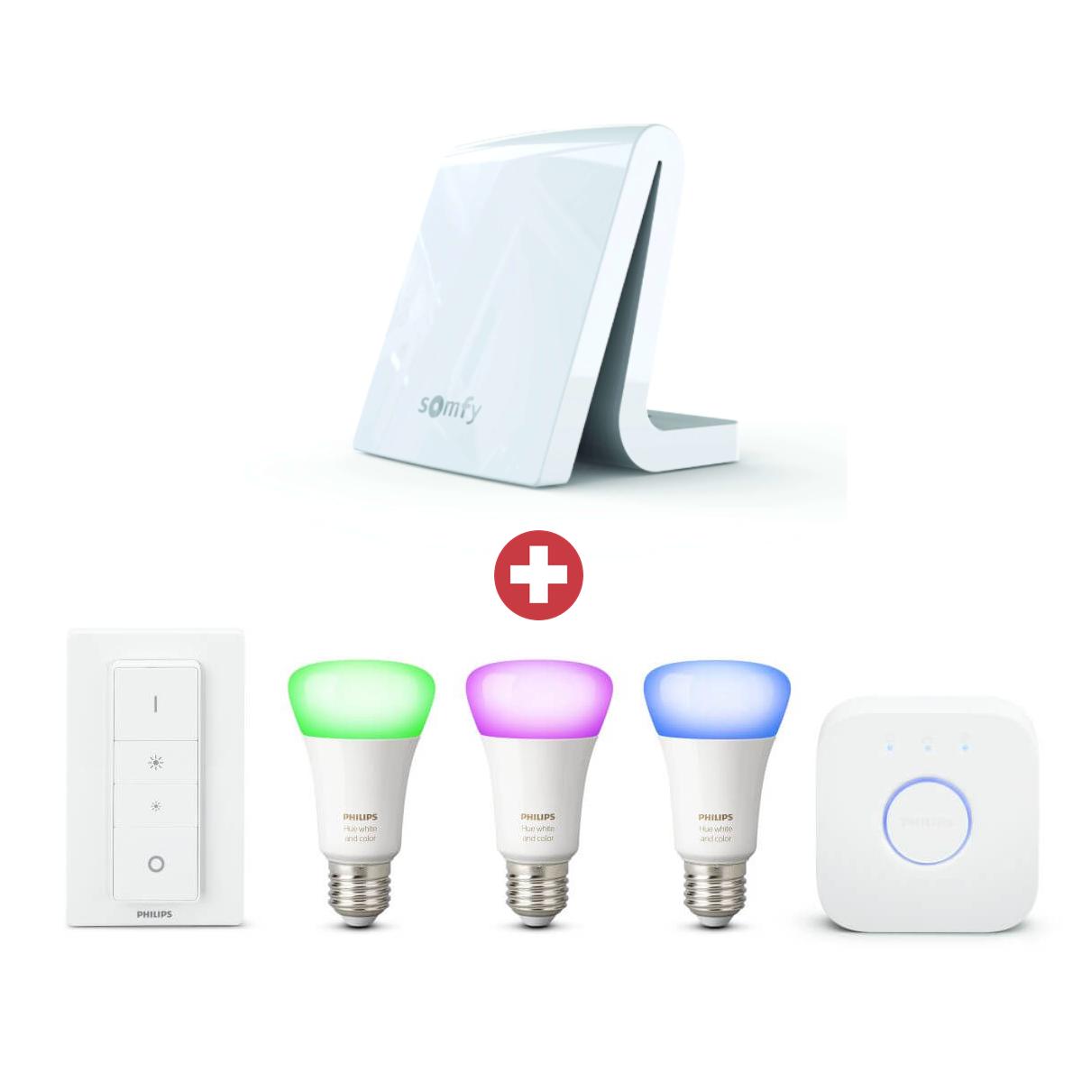 Somfy Vorteilspaket TaHoma Premium + Philips Hue LED E27 3er Starter Set RGBW 10 Watt