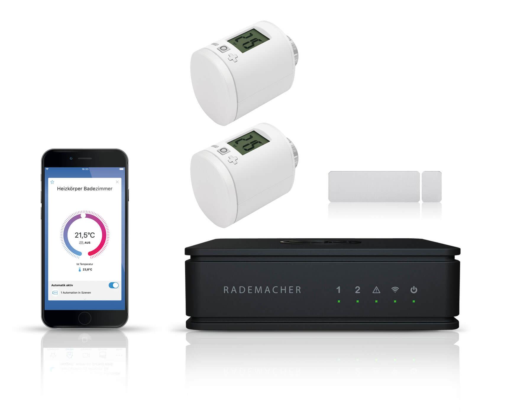 Rademacher Homepilot Vorteilspaket Heizen | HomePilot 2 Zentrale + 2x Funk-Heizkörperstellantrieb + 1x Funk-Fensterkontakt DuoFern