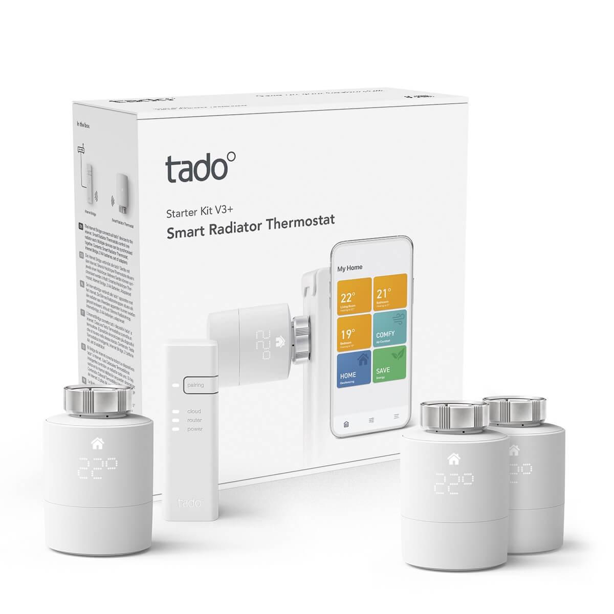 tado° Smartes Heizkörper-Thermostat Starter Set V3+ inkl Bridge + Doppelpack Heizkörperstellantriebe