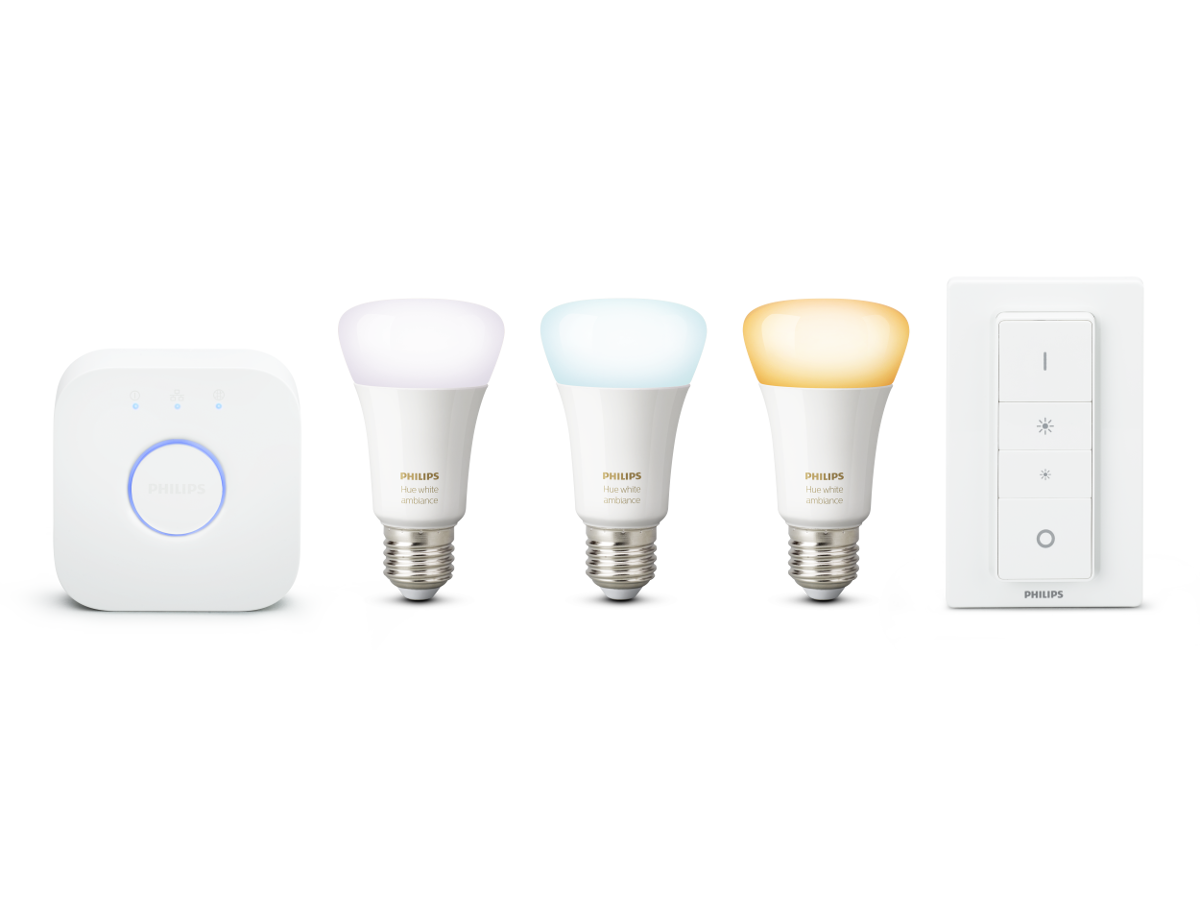 Philips Hue White Ambiance E27 LED Lampe Starter Set, drei Lampen inkl. Bridge und Dimmschalter