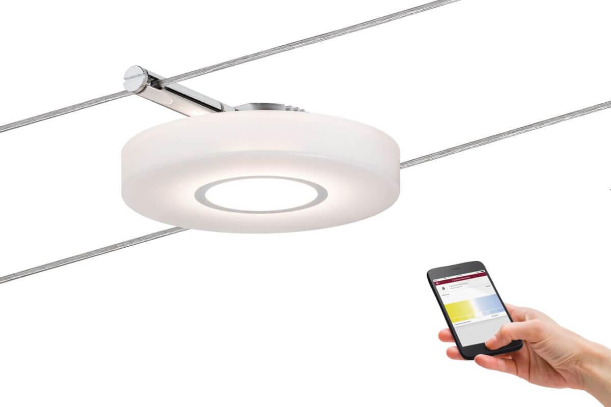 Paulmann Smart LED Seil-Spot DiscLED I 4 W, 12 V DC, Satin mit Weißlichtsteuerung, Bluetooth