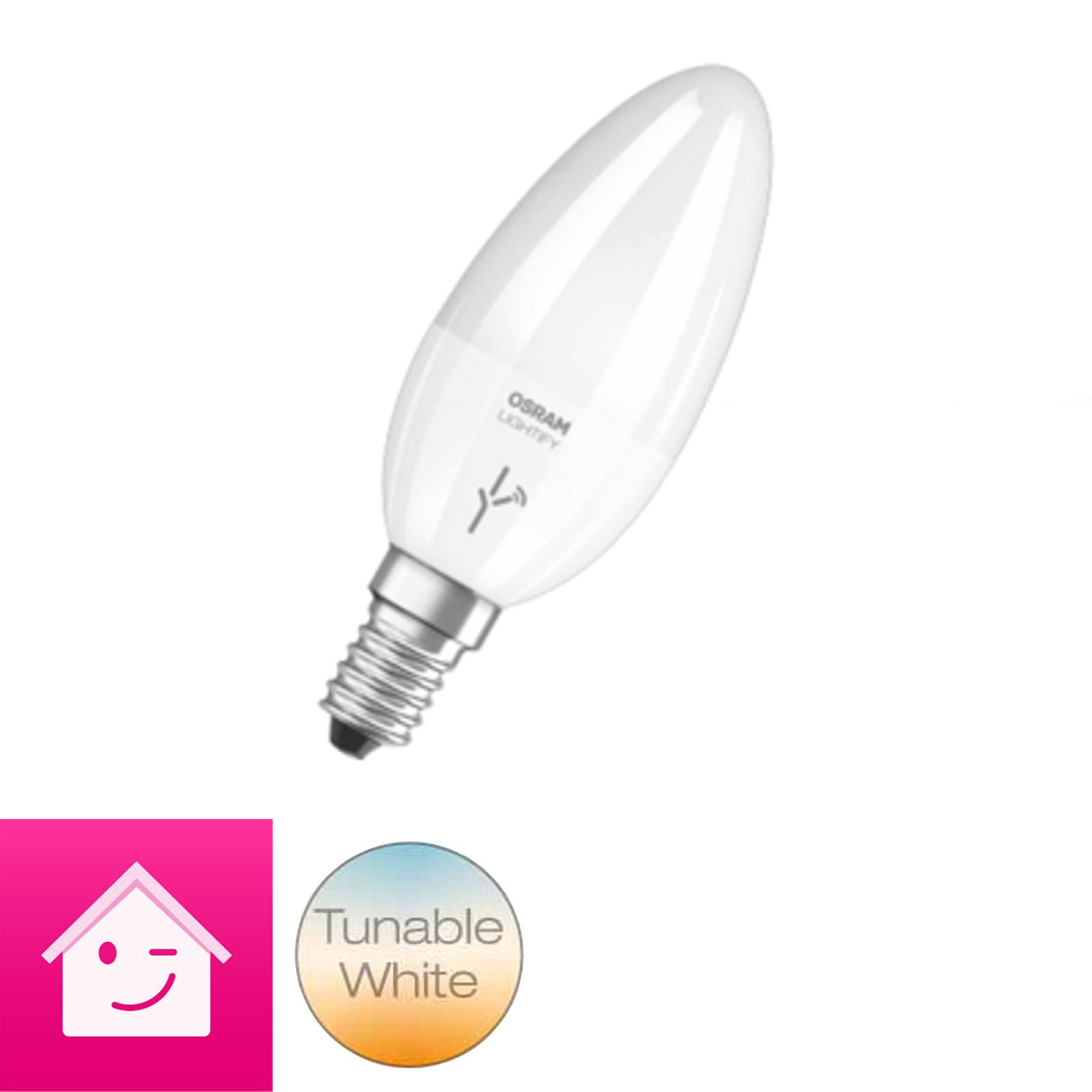 OSRAM LIGHTIFY Classic B LED-Glühlampe Kerzenform Tunable White, 6 Watt, E14, matt, / dimmbar / warmweiß 2700K - 6500K