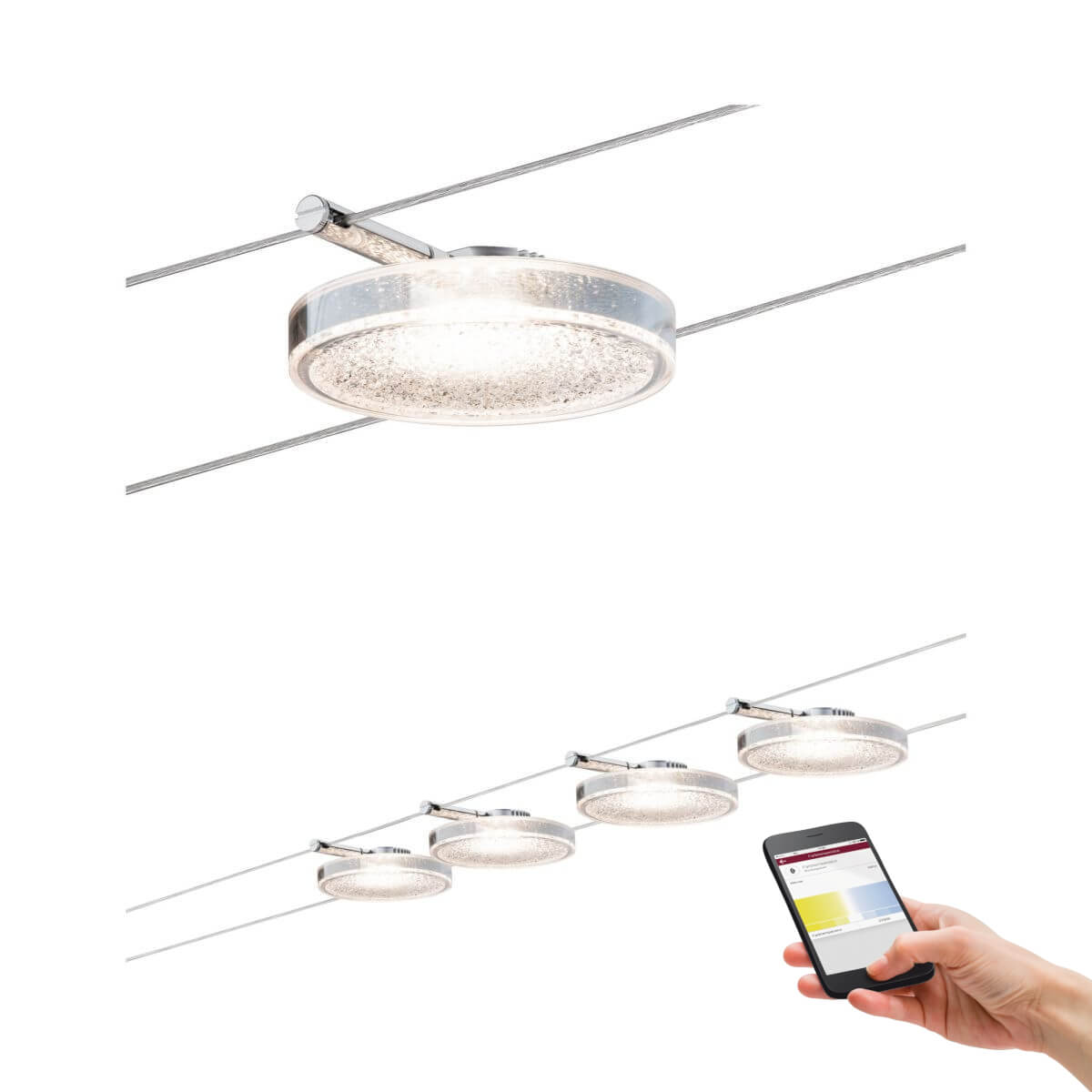 paulmann smart led seilsystem discled ii 4x4w dc mit wei lichtsteuerung ber app smart home. Black Bedroom Furniture Sets. Home Design Ideas
