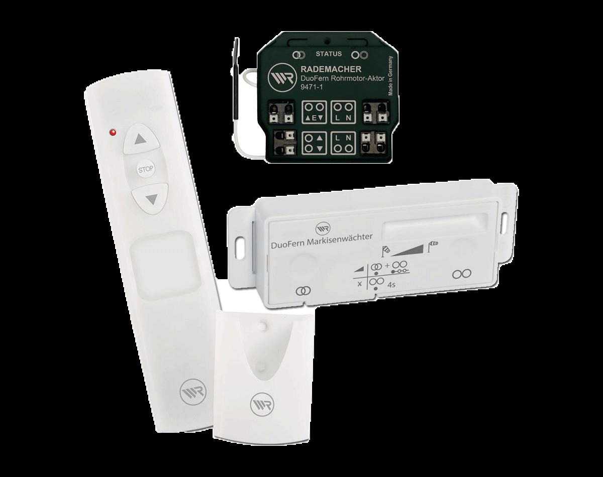 Rademacher Markisen-Windschutz Set 1 zum Nachrüsten,besteht aus: Funkmodul, Handsender und Markisenwächter (Sensor) DuoFern-Funk