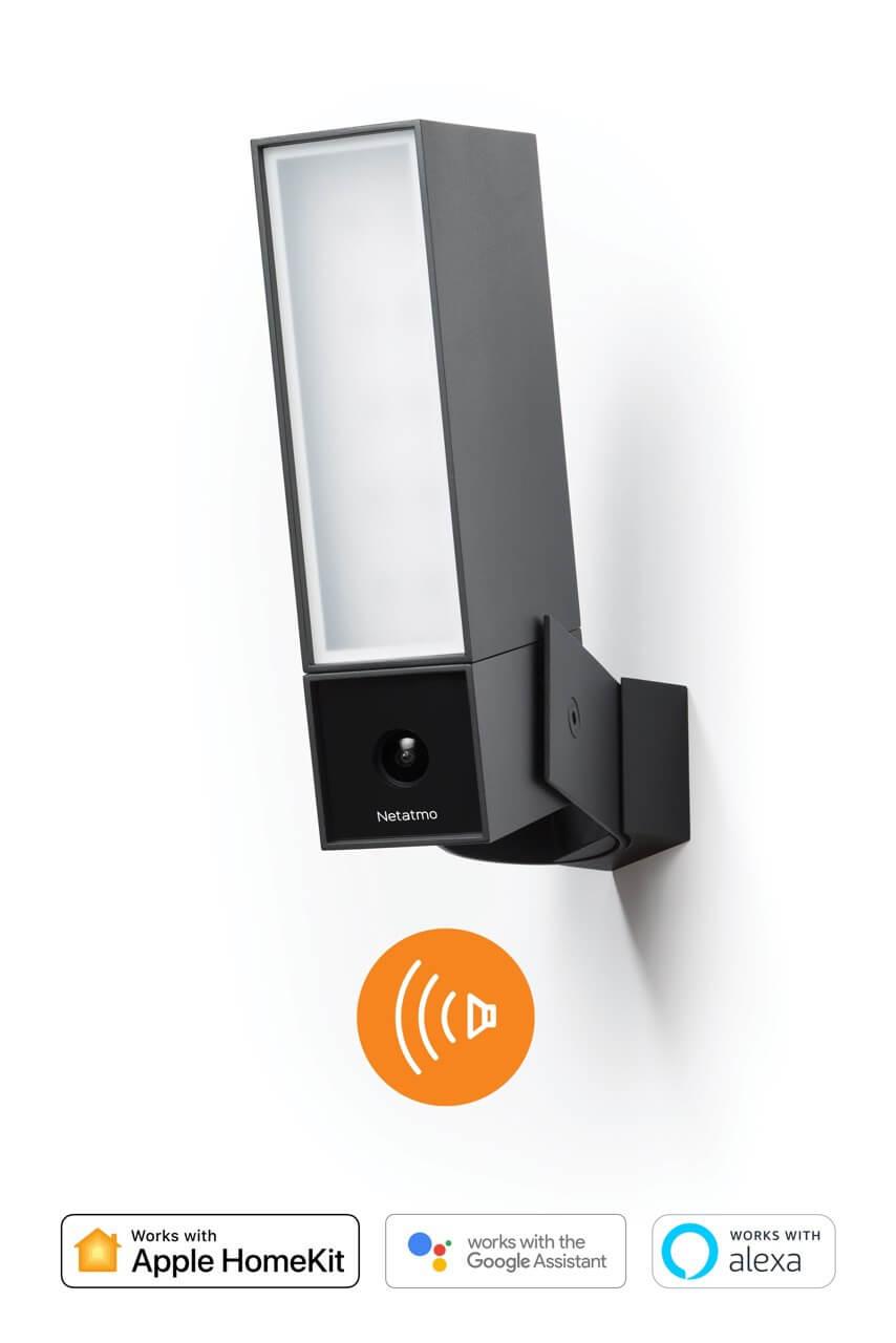 Netatmo Smarte Außenkamera Presence mit Sirene | Outdoor Sicherheitskamera 105dB Alarm Flutlicht