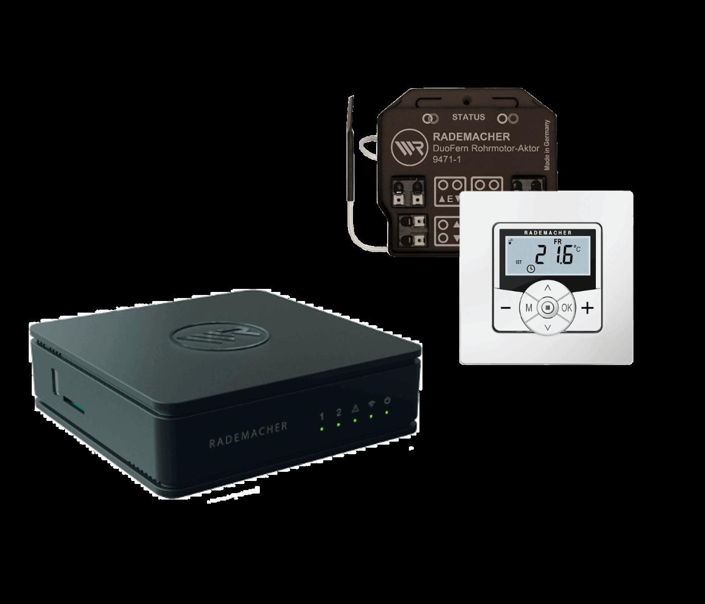 Rademacher Klima Paket, Sicht -und Sonnenschutz, Raumklima steuern mit HomePilot, Aktor & Raumthermostat