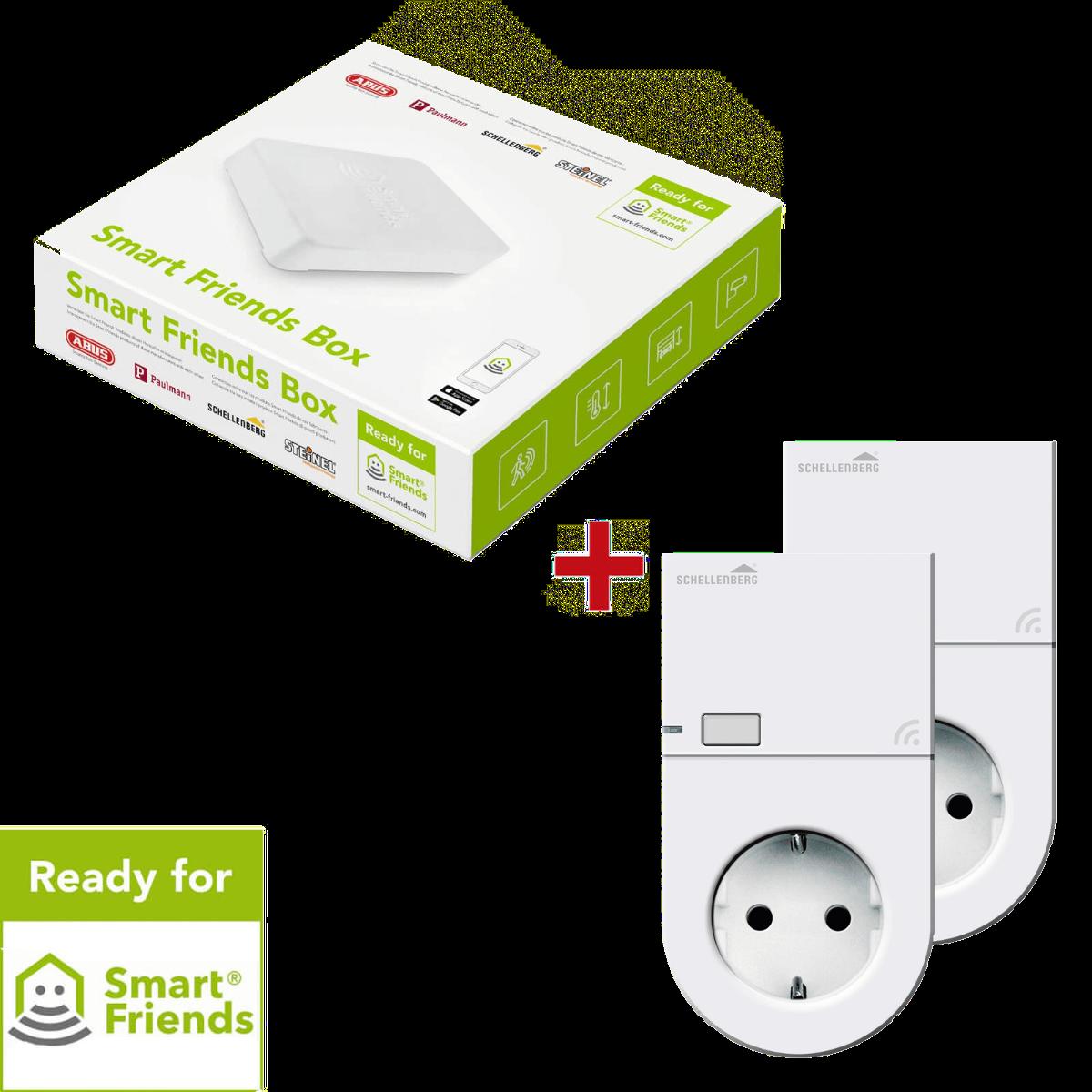 Smart Friends Vorteilspaket Energie, Smart Home Box mit 2 Funk-Steckdosen von Schellenberg, weiß