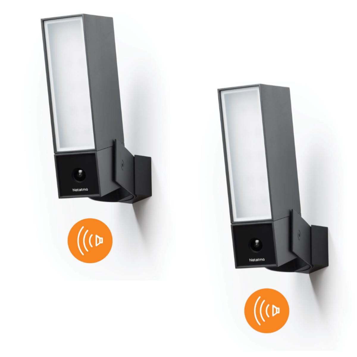 Netatmo Smarte Außenkamera mit Sirene Doppelpack - Presence Sicherheitskamera   Flutlicht 105dB Alarm