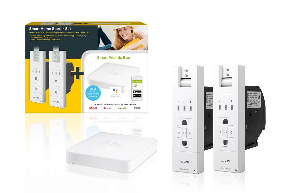Smart Friends Starterset Rolladensteuerung, 2x Funk-Gurtwickler Rollodrive Premium und Zentrale