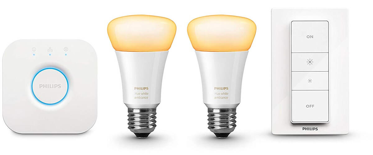 Philips Hue LED E27 2er Starter Set white ambiance | 2 LEDs mit Bridge & Dimm-Schalter