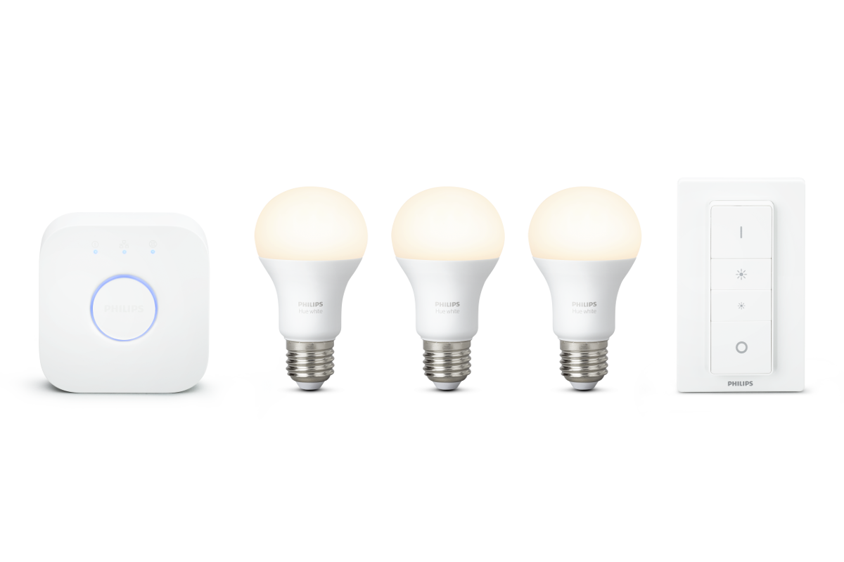 Philips Hue White E27 LED Lampen Starter Set, 3 Lampen inkl Bridge & Dimmschalter | WIFI