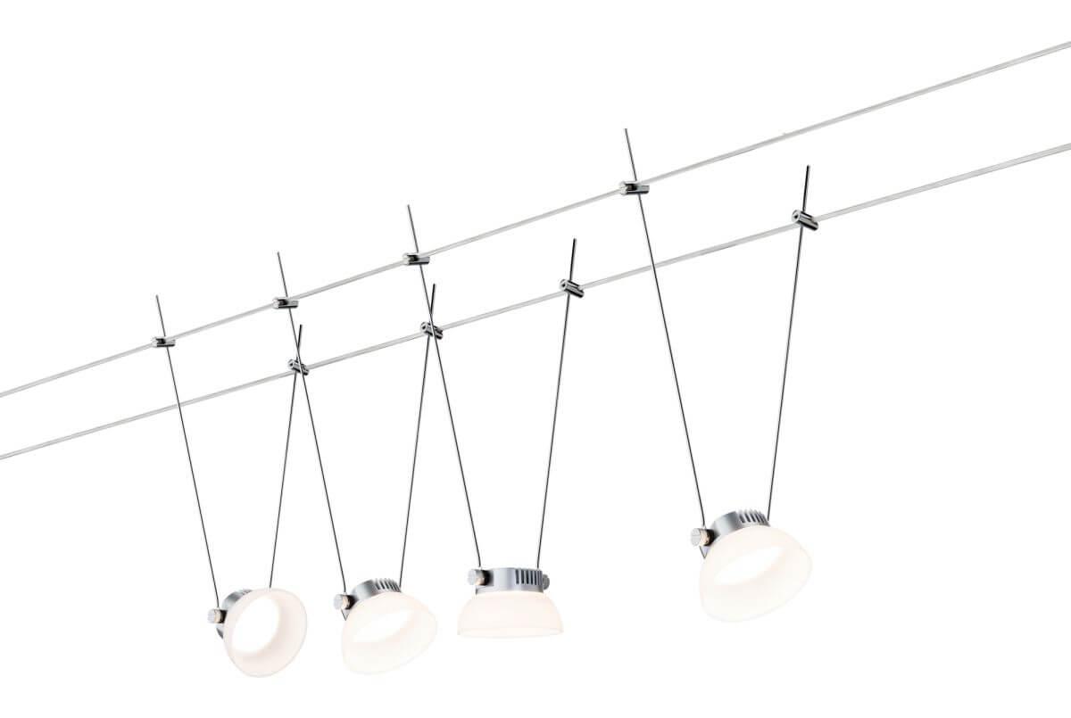Paulmann Bluetooth Seilsystem Ice LED 4 x 4 W - Weiß, App-Steuerung, Set mit 4 Leuchten
