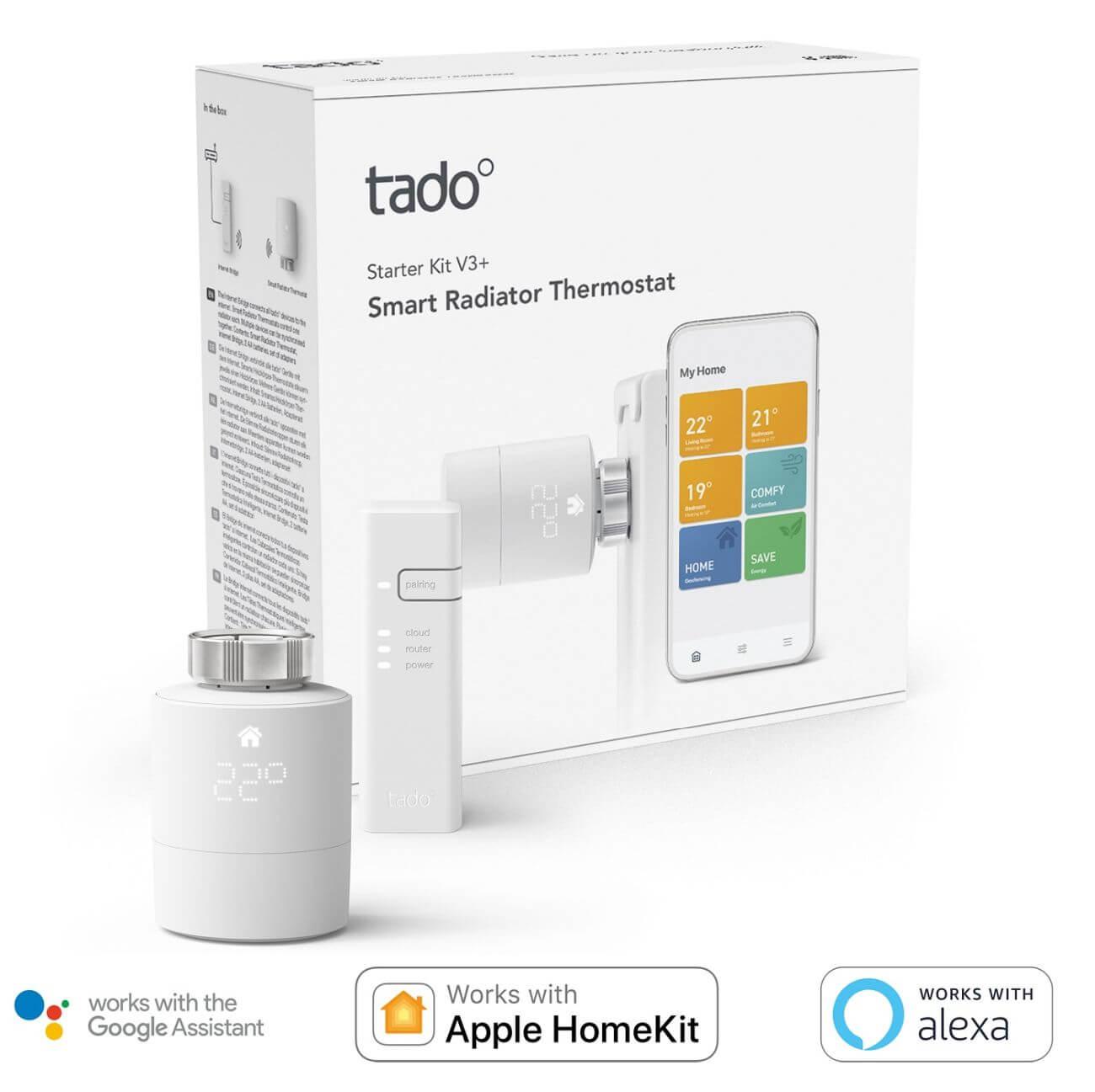 tado° Smartes Heizkörper-Thermostat Starter Set V3+ inkl Bridge LED Display Geofencing Zeitpläne