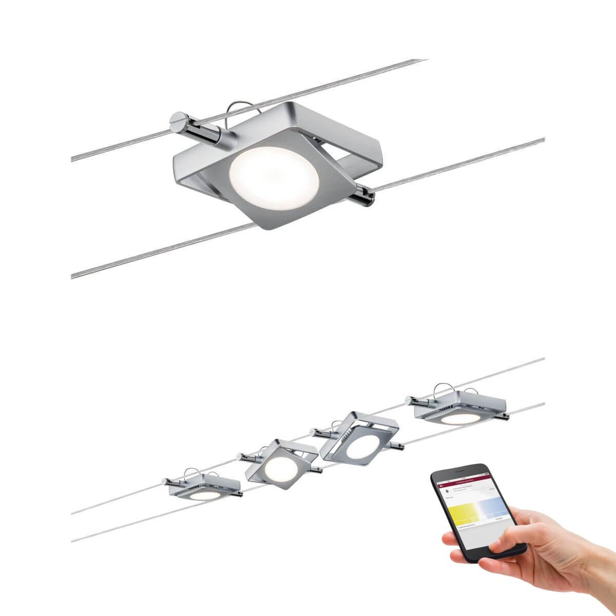 Paulmann Smart LED-Seilsystem MacLED 4x4W DC Chrom matt mit Weißlichtsteuerung, Bluetooth