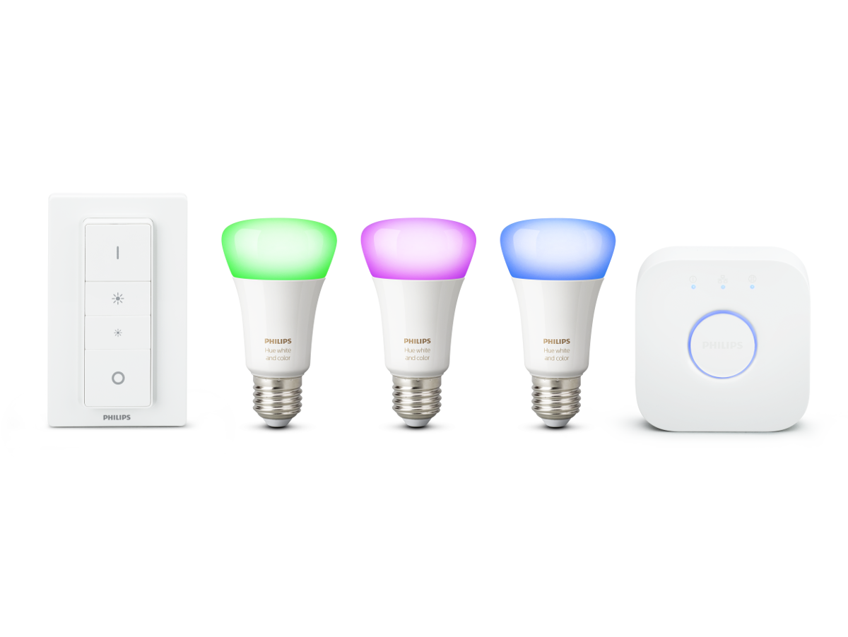 Philips Hue LED E27 3er Starter Set RGBW 10W inkl. Dimmschalter und Bridge