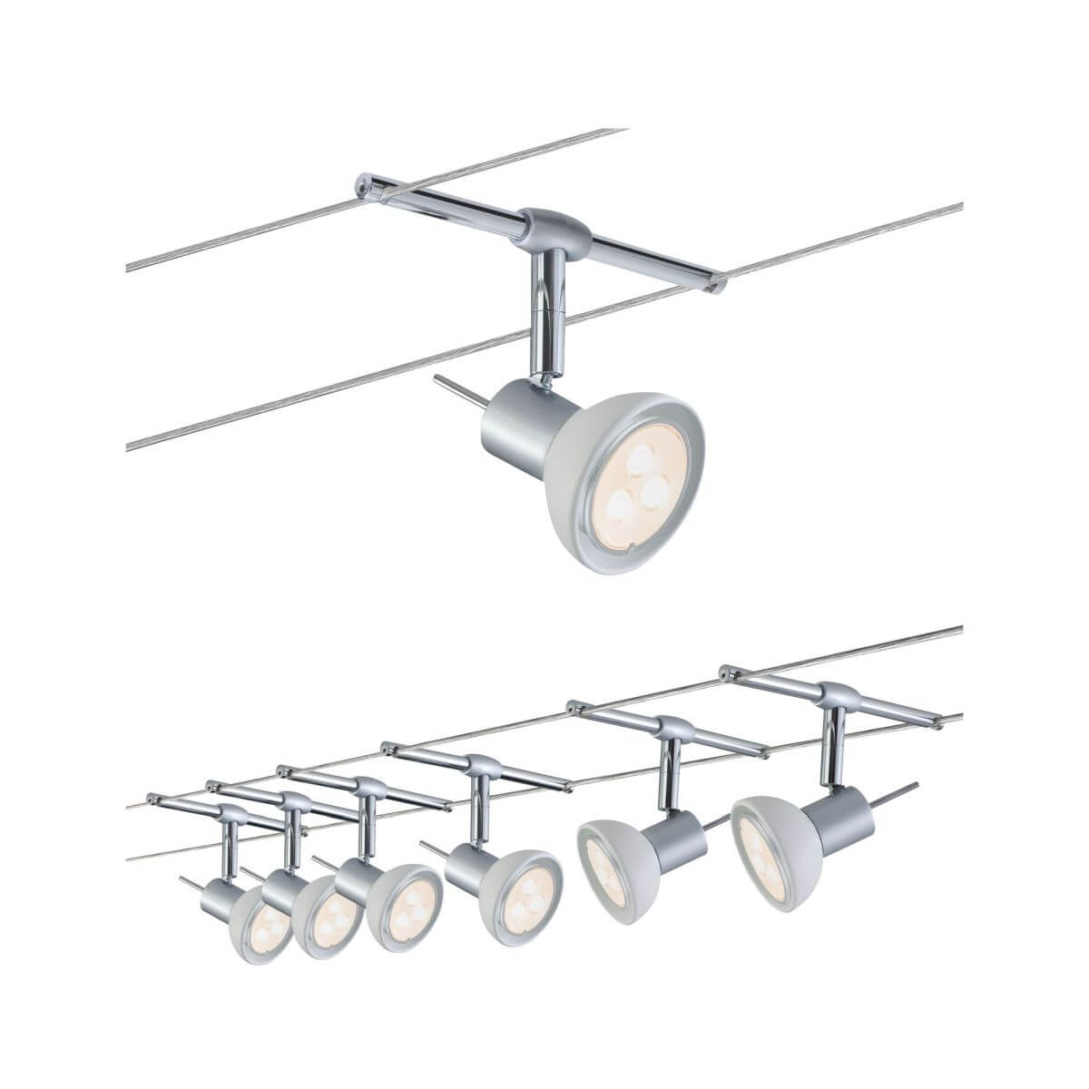 Paulmann Seilsystem Sheela, 6 x 4W, GU5,3, 10 m, 2,5 mm², Warmweiß,  Chrom matt | Opal