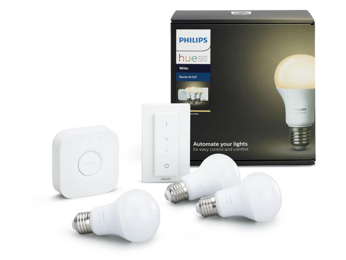 philips hue white e27 led lampe starter set drei lampen inkl bridge dimmschalter ebay. Black Bedroom Furniture Sets. Home Design Ideas